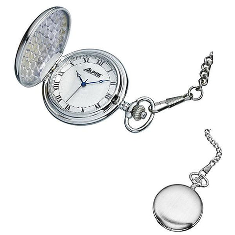 Pocket Watch with Chain - Engravable - Modern  Quartz Pocket Watch