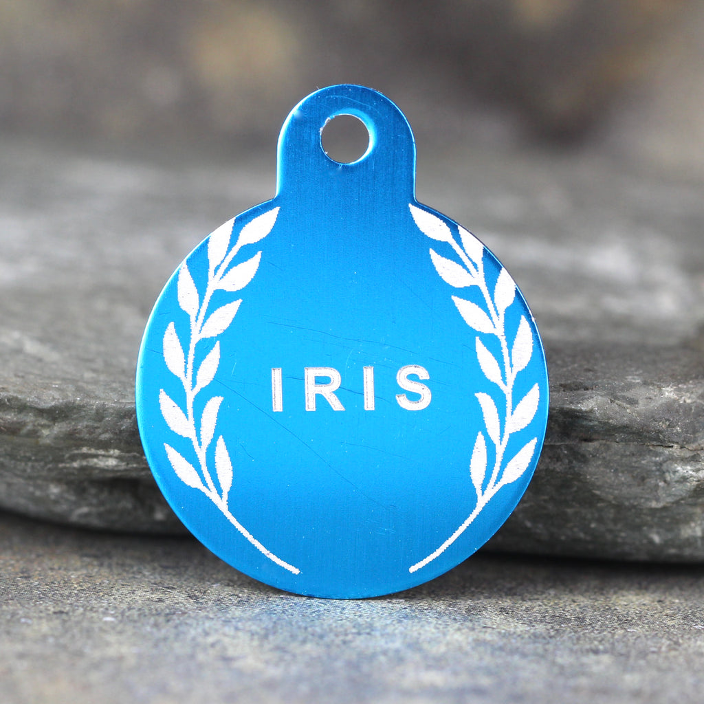 """Iris"" Dog ID Tag - 3 sizes, 9 Colors - Laser Engraved with your Custom Text"