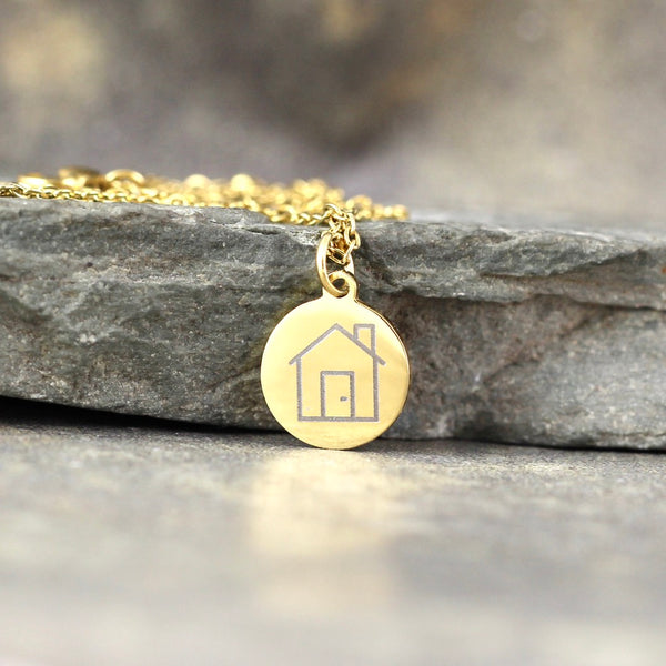 NEW!  House Pendant - GOCLEANCO LOGO - Engraved House Necklace - a Go Clean Co and A Second Time collaboration - #yyc small business