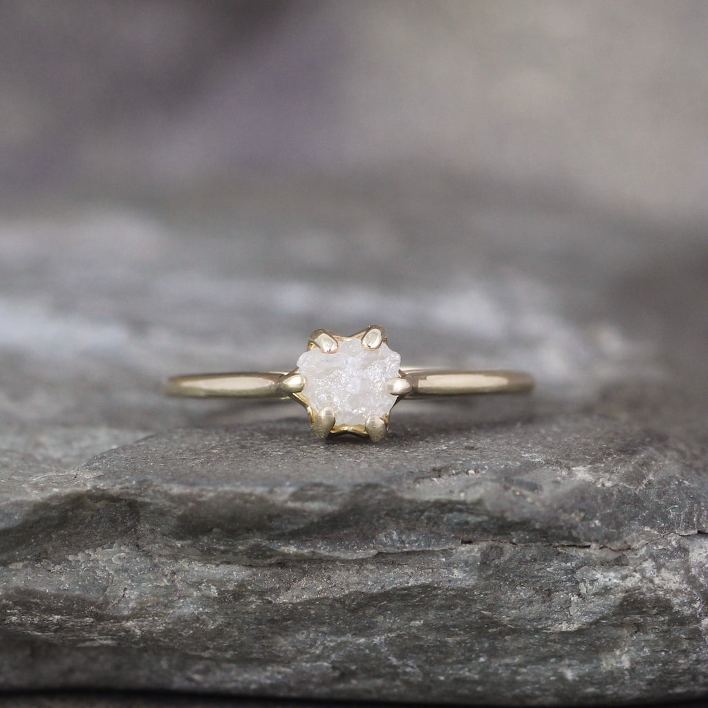 14K Yellow Gold Raw Diamond Solitaire Ring - Basket Weave Setting - Unique Rustic Ring