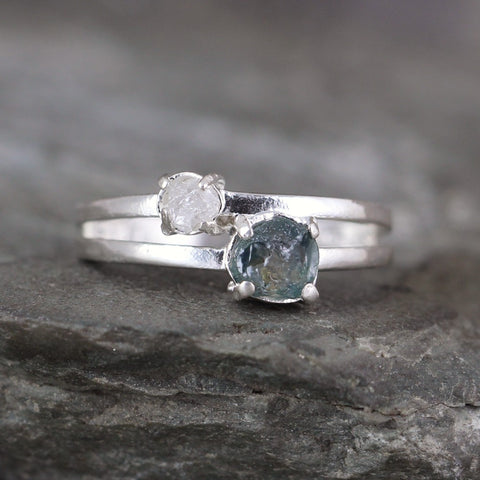 Blue Montana Sapphire Ring with Diamond Accent - Sterling Silver - Raw Rough Uncut Gemstone Ring