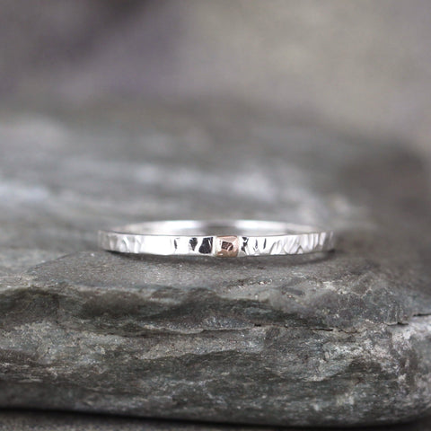 14K Gold and Sterling Silver 2mm Wedding Band - Your choice of Rose, Yellow or White Gold