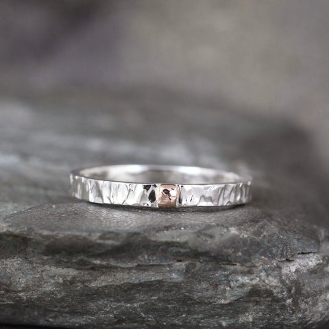 14K Gold and Sterling Silver 3mm Wedding Band - Your choice of Rose, Yellow or White Gold