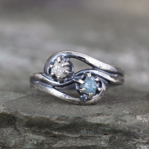 Blue & White Rough Diamond Engagement Ring & Wedding Band