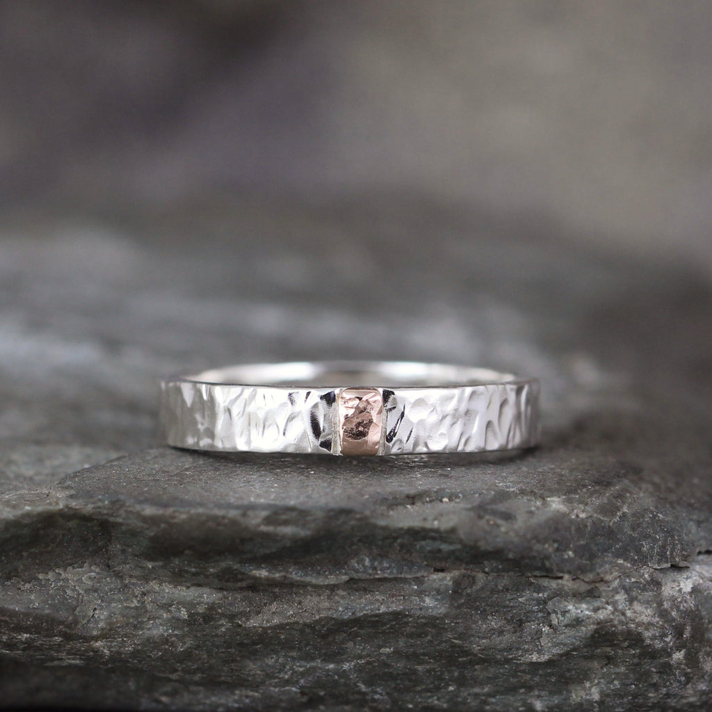 14K Gold and Sterling Silver 4mm Wedding Band - Your choice of Rose, Yellow or White Gold