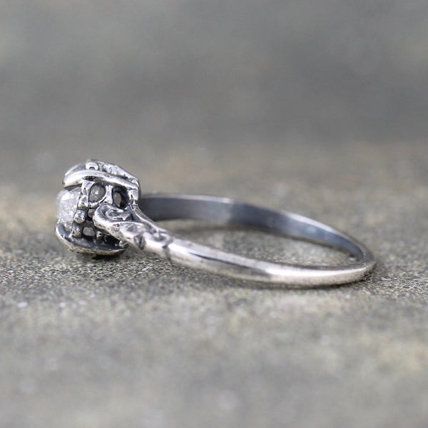 Antique Patina Filigree Style Rough Diamond Engagement Ring