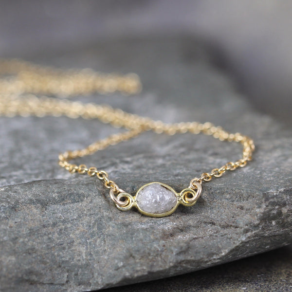 Modern Minimalist Raw Diamond Necklace - Yellow Gold Filled
