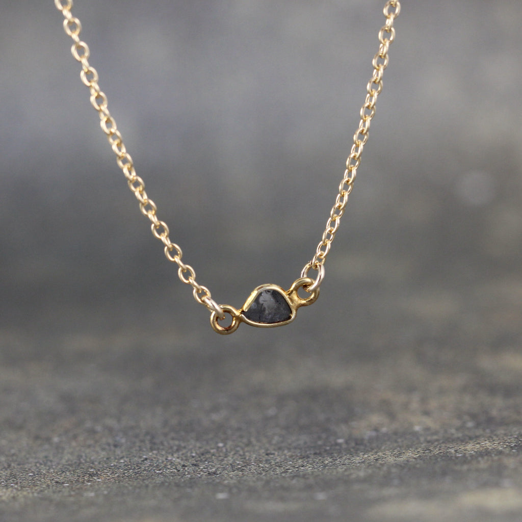 Diamond Slice Pendant - Black Diamond Necklace