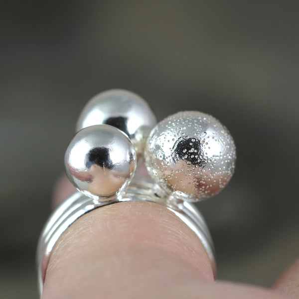 Orb Rings - Galaxy - Sterling Silver Ball Ring - Stackable