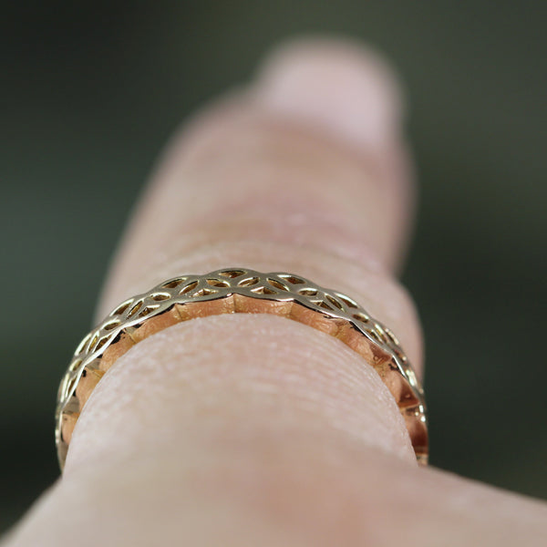 Celtic Knot Band 14K Gold - Your choice of Rose, White or Yellow Gold