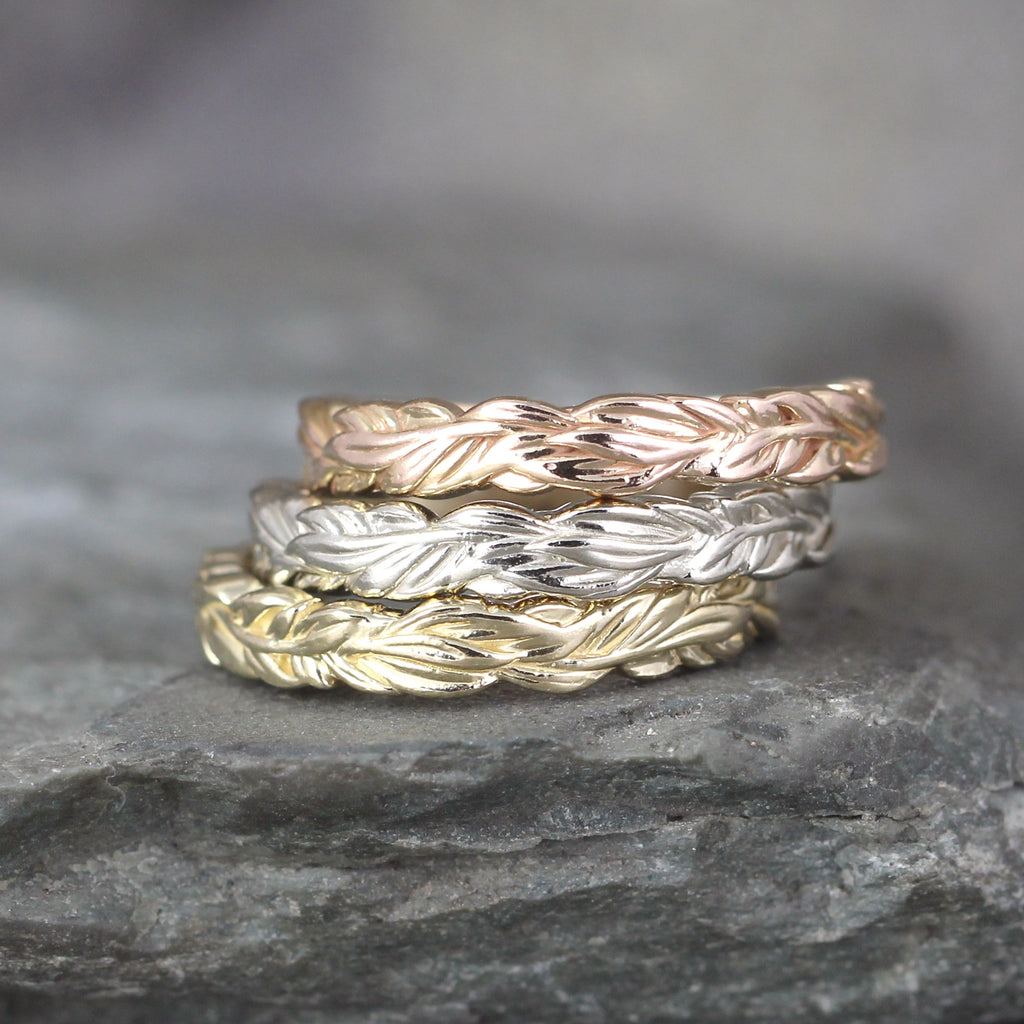 Leaf Design Band - Your choice of Rose, White or Yellow Gold