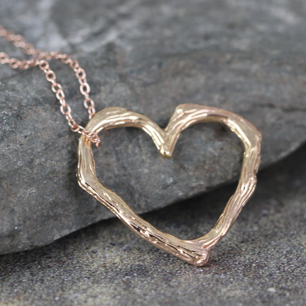 Rose Gold Twig Heart Pendant - Floating Heart Necklace