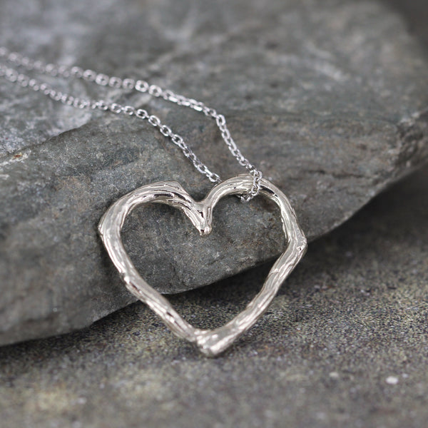 White Gold Twig Heart Pendant - Floating Heart Necklace