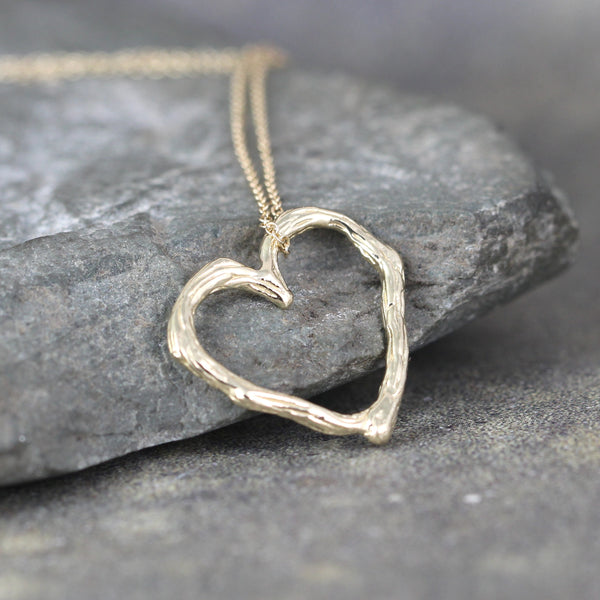 Yellow Gold Twig Heart Pendant - Floating Heart Necklace