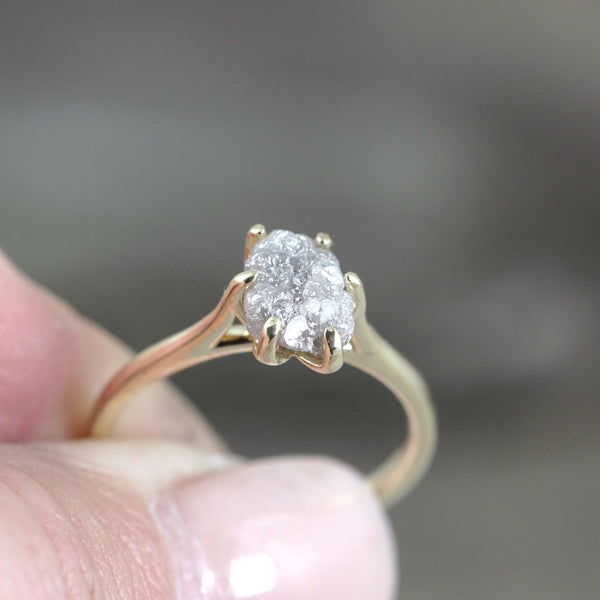 Raw Diamond Engagement Ring - 14K Yellow Gold Basket Weave Setting - Rough Diamond 1.75 carat