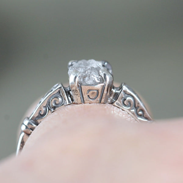 Deco Design Rough Diamond Engagement Ring - Antique Patina