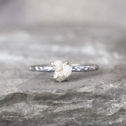 14K White Gold and Oxidized Sterling Silver Uncut Diamond Ring - Hammer Texture Band