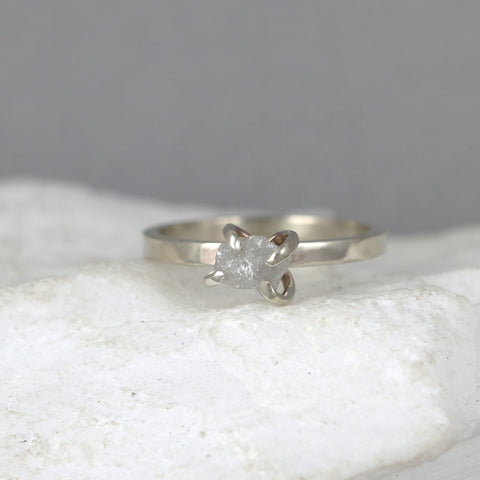 14K White Gold Uncut Diamond Ring - Modern Flat Band
