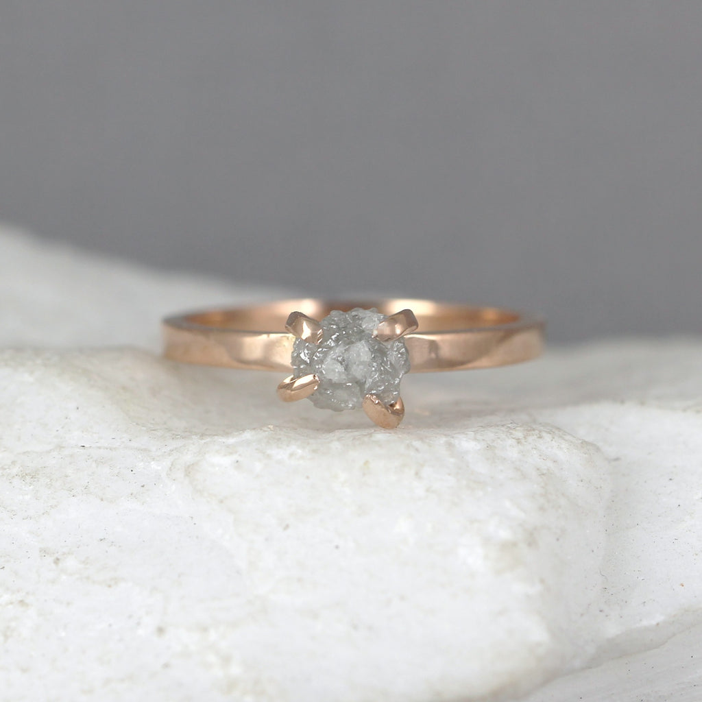 14K Pink Gold Uncut Diamond Ring - Modern Flat Band