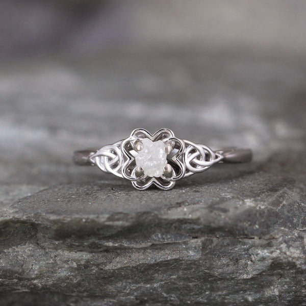 White Gold Celtic Knot & Raw Uncut Diamond Ring