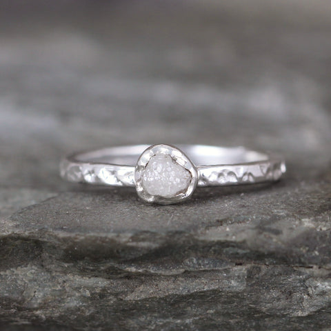 Uncut Diamond Promise Ring - Bezel Set Hammered Texture Band