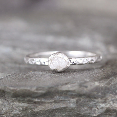 Raw Diamond Promise Ring - Bezel Set Hammered Texture Band
