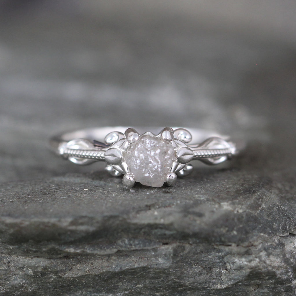 Uncut Diamond Engagement Ring with beading and scrolling design
