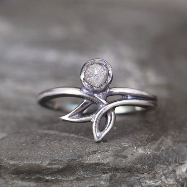 Modern Leaf Ring with Raw Diamond Gemstone