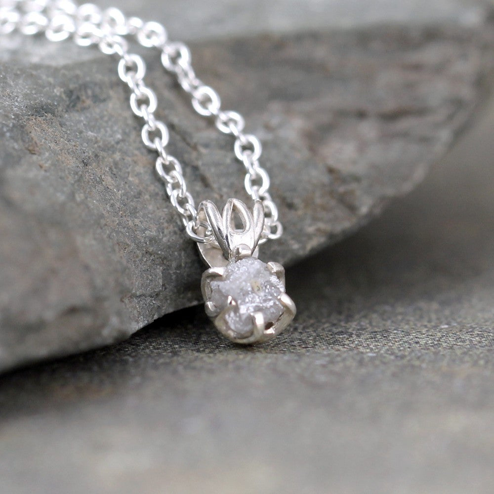 Rough Diamond Pendant - Filigree Style - 1/2 Carat Raw Uncut Diamond