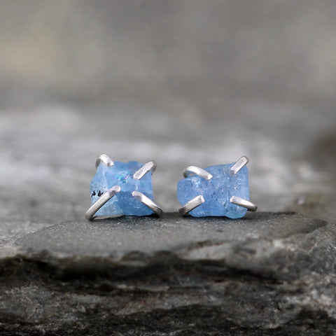 Aquamarine Earrings - Raw Uncut Rough Aquamarine Gemstone Earrings