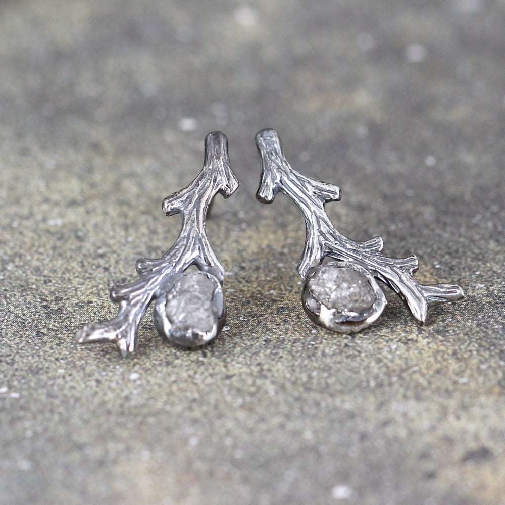 Rough Diamond Earrings - Sterling Silver Tree Branch - Twig