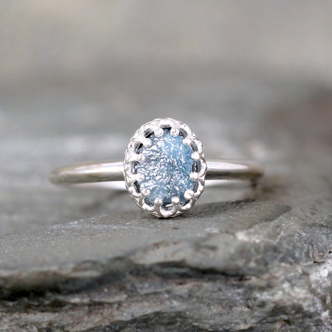 Raw Blue Diamond Ring - Crown Setting - Sterling Silver
