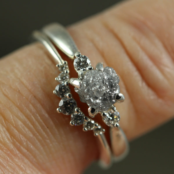 Salt & Pepper Uncut Diamond Ring with Faceted Diamond Accents