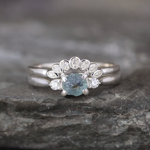 Montana Sapphire and Diamond Three Stone Ring
