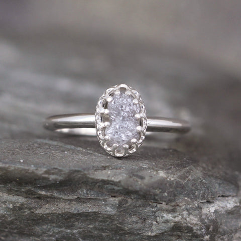Crown Design Engagement Ring with Rough Uncut Natural Diamond