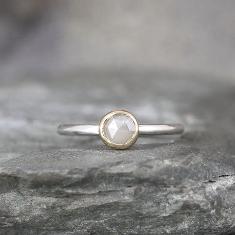 Rose Cut Diamond Ring - 14K Yellow Gold & Sterling Silver
