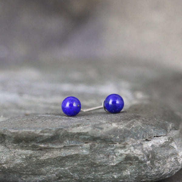 Lapis Lazuli 4mm Earrings - Sterling Silver Stud Earring