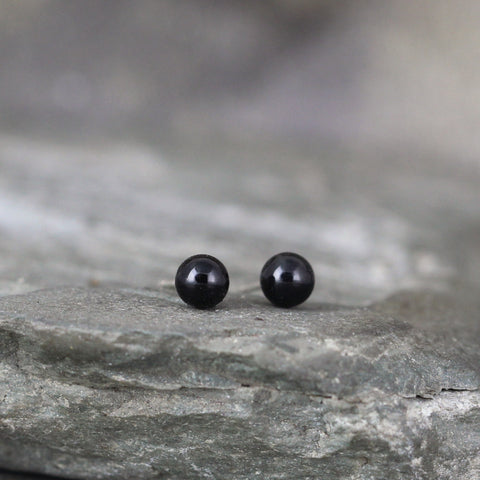 Black Onyx  4mm Earrings - Sterling Silver Stud Earring