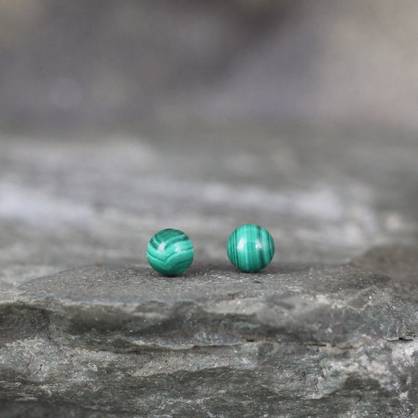 Green Malachite 4mm Earrings - Sterling Silver Stud Earring