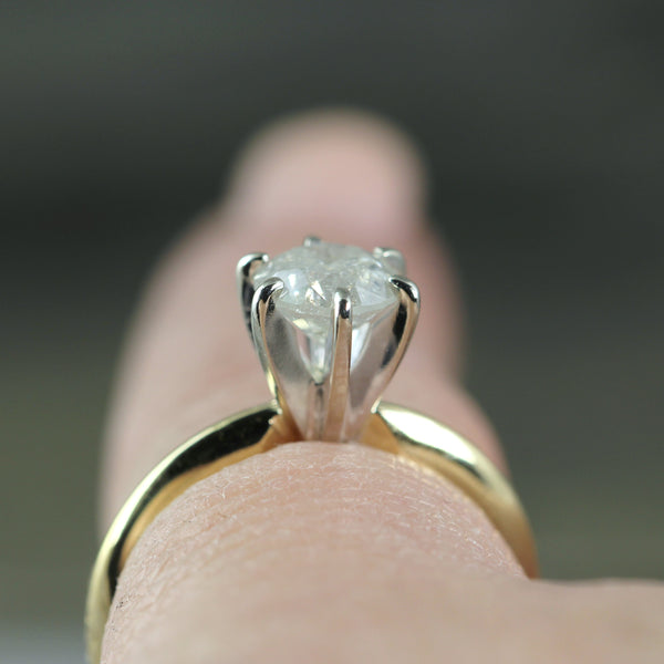 White Salt & Pepper Diamond Engagement Ring in 14K Yellow Gold