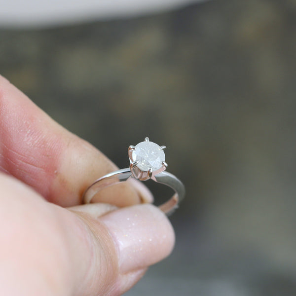 Icy White Salt and Pepper Diamond Ring in 14K White Gold