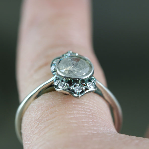 Salt and Pepper Galaxy Diamond Ring - Vintage Style