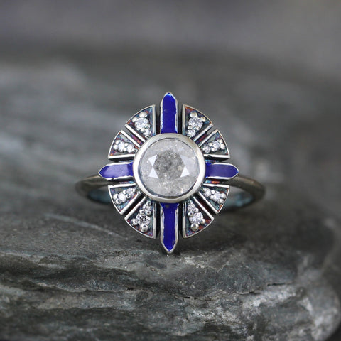 Deco Inspired Salt & Pepper Diamond Ring with Blue Enamel Detail