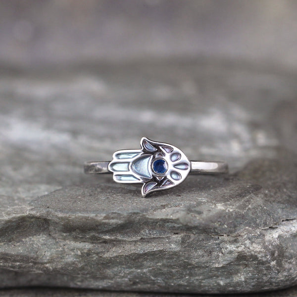 Hamsa Ring - Sterling Silver with Blue Enamel