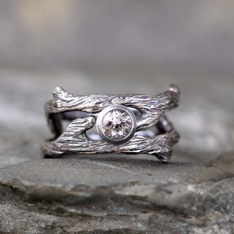 Twig Style Engagement Ring & Wedding Band