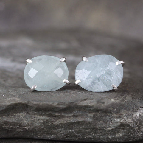 Aquamarine Earrings - Rose Cut Free Form Gemstone - Stud Earring