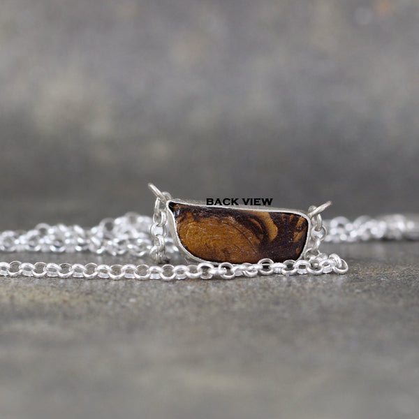 Boulder Opal Necklace - Handmade frame in Sterling Silver