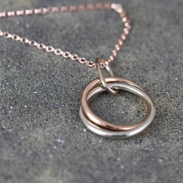 Interlocking Rings Pendant - 14K Rose & White Gold