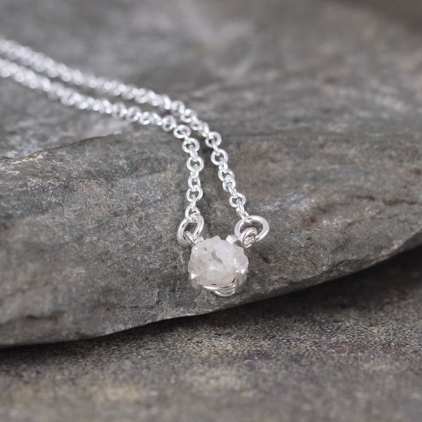 Modern Diamond Pendant - Rough Uncut Diamond Minimalist Necklace