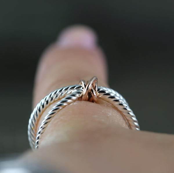 Infinity Ring with Gold Knot - Sterling Silver with your choice of Rose, White or Yellow Gold